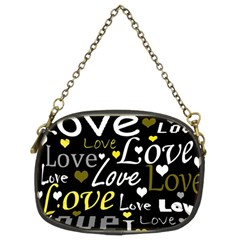 Yellow Love Pattern Chain Purses (two Sides)  by Valentinaart