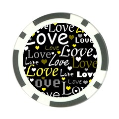 Yellow Love Pattern Poker Chip Card Guards (10 Pack)  by Valentinaart