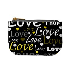 Yellow Love Pattern Mini Coin Purses