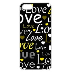 Yellow Love Pattern Apple Iphone 5 Seamless Case (white) by Valentinaart