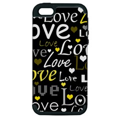 Yellow Love Pattern Apple Iphone 5 Hardshell Case (pc+silicone) by Valentinaart