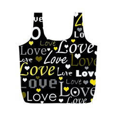 Yellow Love Pattern Full Print Recycle Bags (m)  by Valentinaart