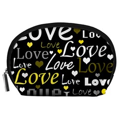 Yellow Love Pattern Accessory Pouches (large)  by Valentinaart
