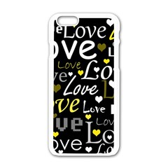 Yellow Love Pattern Apple Iphone 6/6s White Enamel Case by Valentinaart