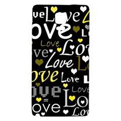 Yellow Love Pattern Galaxy Note 4 Back Case by Valentinaart