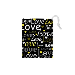 Yellow Love Pattern Drawstring Pouches (xs)  by Valentinaart