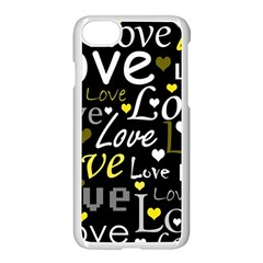 Yellow Love Pattern Apple Iphone 7 Seamless Case (white) by Valentinaart