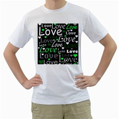 Green Valentine s Day Pattern Men s T-shirt (white) (two Sided) by Valentinaart