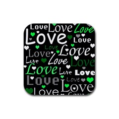 Green Valentine s Day Pattern Rubber Coaster (square)  by Valentinaart