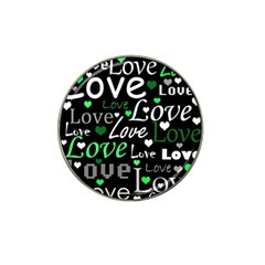 Green Valentine s Day Pattern Hat Clip Ball Marker (4 Pack) by Valentinaart