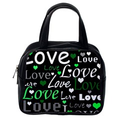 Green Valentine s Day Pattern Classic Handbags (one Side) by Valentinaart