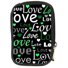 Green Valentine s Day Pattern Compact Camera Cases by Valentinaart