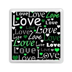 Green Valentine s Day Pattern Memory Card Reader (square)  by Valentinaart