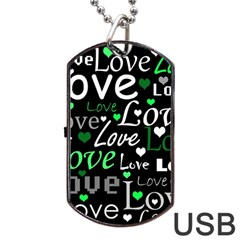 Green Valentine s Day Pattern Dog Tag Usb Flash (one Side) by Valentinaart