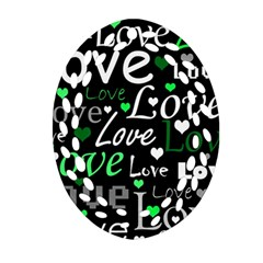 Green Valentine s Day Pattern Oval Filigree Ornament (2 Side)  by Valentinaart