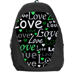 Green Valentine s Day Pattern Backpack Bag by Valentinaart