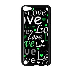 Green Valentine s Day Pattern Apple Ipod Touch 5 Case (black) by Valentinaart