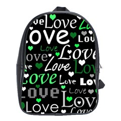 Green Valentine s Day Pattern School Bags (xl)