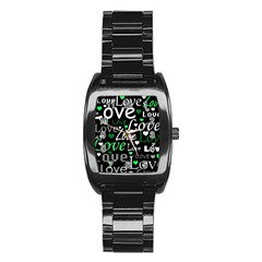 Green Valentine s Day Pattern Stainless Steel Barrel Watch by Valentinaart