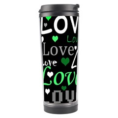 Green Valentine s Day Pattern Travel Tumbler by Valentinaart