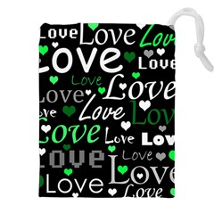 Green Valentine s Day Pattern Drawstring Pouches (xxl) by Valentinaart