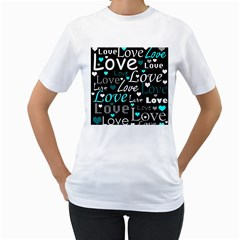 Valentine s Day Pattern   Cyan Women s T Shirt (white) (two Sided) by Valentinaart