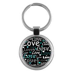 Valentine s Day Pattern   Cyan Key Chains (round)  by Valentinaart