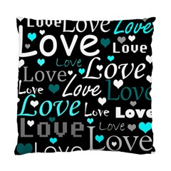 Valentine s Day Pattern   Cyan Standard Cushion Case (two Sides) by Valentinaart