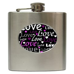 Valentine s Day Pattern   Purple Hip Flask (6 Oz) by Valentinaart