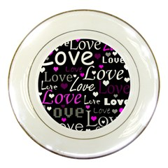 Valentine s Day Pattern   Purple Porcelain Plates by Valentinaart