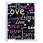 Valentine s day pattern - purple Apple iPad 2 Case (White) Front