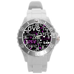 Valentine s Day Pattern   Purple Round Plastic Sport Watch (l) by Valentinaart