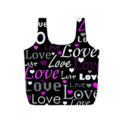 Valentine s Day Pattern   Purple Full Print Recycle Bags (s)  by Valentinaart