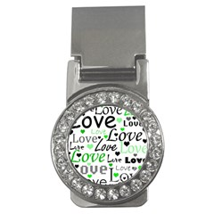 Green  Valentine s Day Pattern Money Clips (cz)  by Valentinaart