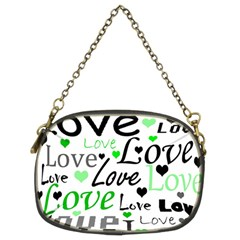 Green  Valentine s Day Pattern Chain Purses (two Sides)  by Valentinaart