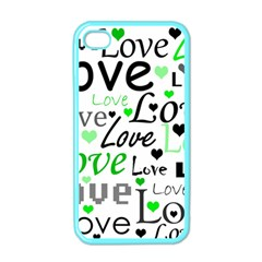 Green  Valentine s Day Pattern Apple Iphone 4 Case (color) by Valentinaart