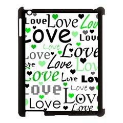 Green  Valentine s Day Pattern Apple Ipad 3/4 Case (black) by Valentinaart
