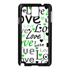 Green  Valentine s Day Pattern Samsung Galaxy Note 3 N9005 Case (black) by Valentinaart