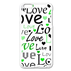 Green  Valentine s Day Pattern Apple Iphone 6 Plus/6s Plus Enamel White Case by Valentinaart