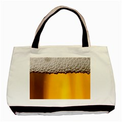 Beer Foam Yellow Basic Tote Bag by AnjaniArt