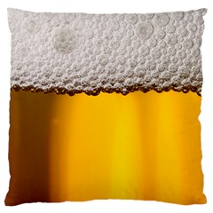Beer Foam Yellow Large Flano Cushion Case (two Sides)