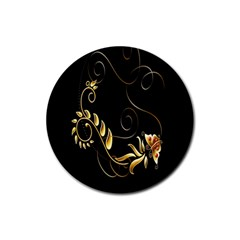 Butterfly Black Golden Rubber Coaster (round)
