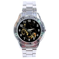 Butterfly Black Golden Stainless Steel Analogue Watch by AnjaniArt