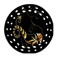 Butterfly Black Golden Round Filigree Ornament (2side) by AnjaniArt