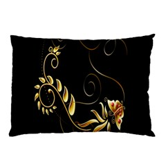 Butterfly Black Golden Pillow Case (two Sides)