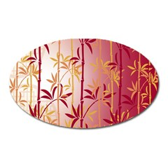 Bamboo Tree New Year Red Oval Magnet