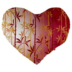 Bamboo Tree New Year Red Large 19  Premium Flano Heart Shape Cushions