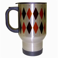 Brown Orange Retro Diamond Copy Travel Mug (silver Gray) by AnjaniArt