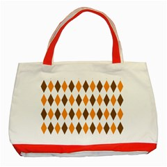 Brown Orange Retro Diamond Copy Classic Tote Bag (red) by AnjaniArt