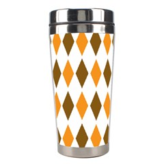 Brown Orange Retro Diamond Copy Stainless Steel Travel Tumblers by AnjaniArt